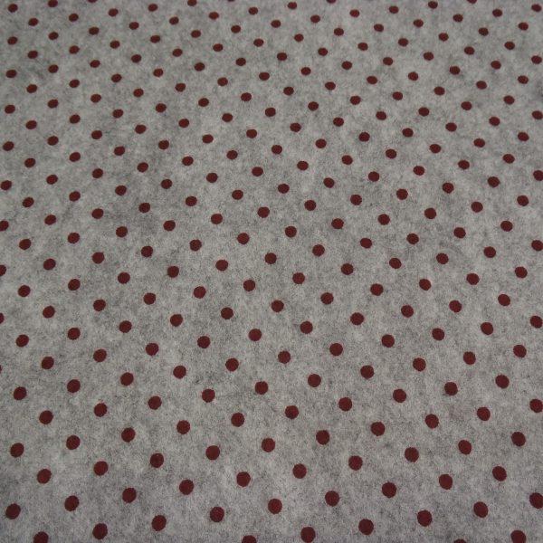 pannolenci grigio con pois rosso scuro 45x50 cm