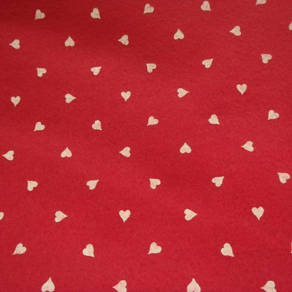 pannolenci rosso vivace con cuori bianchi 45x50 cm